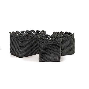 Heritage Lace Mode Crochet Trim Basket; Charcoal
