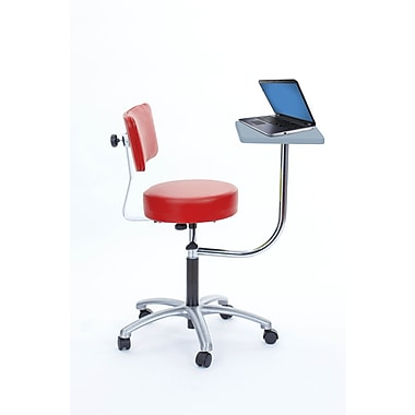 Brandt Laptop Adjustable Height Revolving Stool and Backrest with 360 Degree Rotating Desk (14112 Fire)