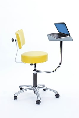 Brandt Laptop Adjustable Height Revolving Stool and Backrest with 360 Degree Rotating Desk (14112 Lemon)