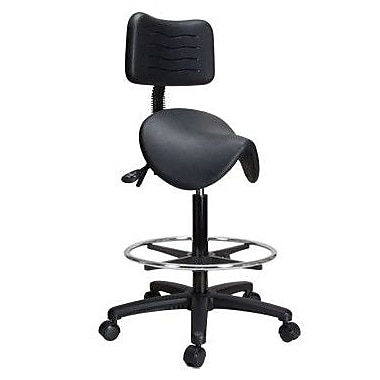 Perch Chairs & Stools Height Adjustable Saddle Stool w/ Back and Foot Ring