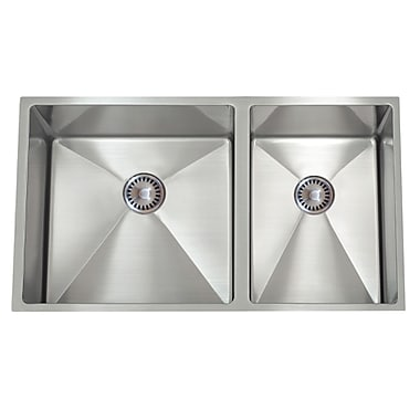 Lenova 30'' x 10'' PermaClean Undermount Double Bowl Kitchen Sink