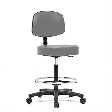 Perch Chairs & Stools Height Adjustable Exam Stool w/ Basic Backrest and Foot Ring; Grey Vinyl