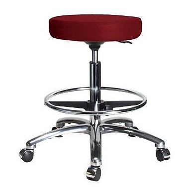 Perch Chairs & Stools Height Adjustable Swivel Stool w/ Foot Ring; Burgundy Vinyl