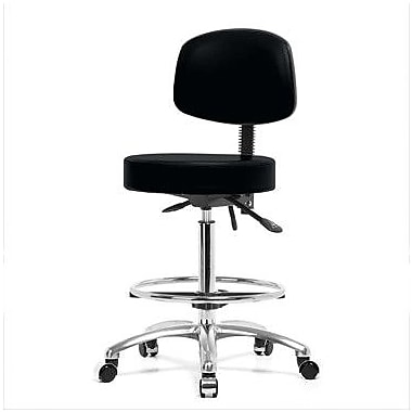 Perch Chairs & Stools Height Adjustable Doctor Stool w/ Foot Ring; Black Vinyl