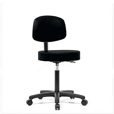 Perch Chairs & Stools Height Adjustable Exam Stool w/ Basic Backrest; Black Vinyl