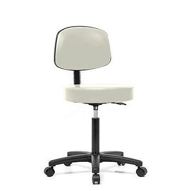 Perch Chairs & Stools Height Adjustable Exam Stool w/ Basic Backrest; Adobe White Vinyl