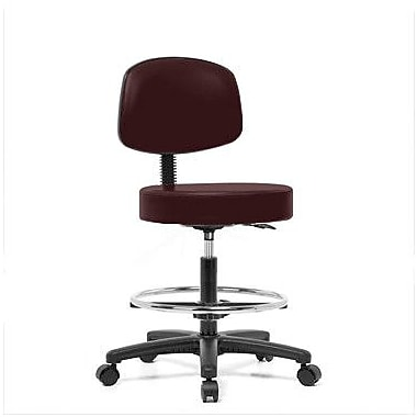 Perch Chairs & Stools Height Adjustable Exam Stool w/ Basic Backrest and Foot Ring; Burgundy Fabric