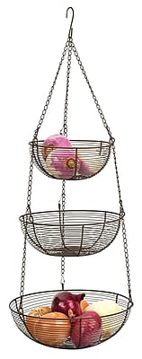 RSVP-INTL 3 Tier Hanging Baskets; Bronze