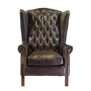 Joseph Allen Old World Antique Leather Wingback Chair