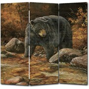 WGI GALLERY 68'' x 68'' Streamside Bear 3 Panel Room Divider