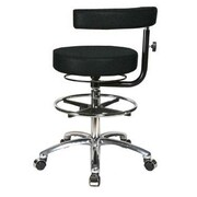 Perch Chairs & Stools Height Adjustable Dental Stool w/ Procedure Arm and Foot Ring; Black Fabric