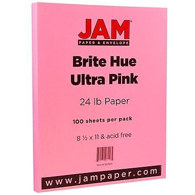 JAM Paper® Bright Color Paper, 8.5 x 11, 24lb Brite Hue Ultra Pink, 100/pack (103564)