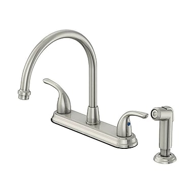 OakbrookCollection Double Handle Deck Mounted Kitchen Faucet w/ Side Spray