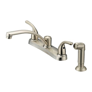 OakbrookCollection Double Handle Deck Mounted Standard Kitchen Faucet w/ Side Spray; Bronze