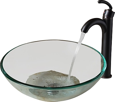 Elite Tempered Glass Circular Vessel Bathroom Sink; Oil Rubbed Bronze