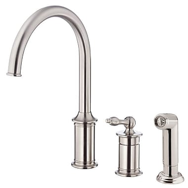 Danze Prince Single Handle Deck Mounted Kitchen Faucet w/ Side Spray; Stainless Steel