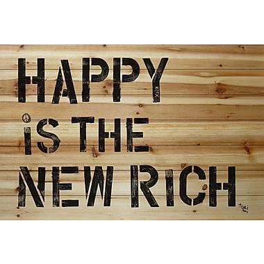 Marmont Hill 'Happy Is The New Rich' by Tori Campisi Painting Print on Natural Pine Wood