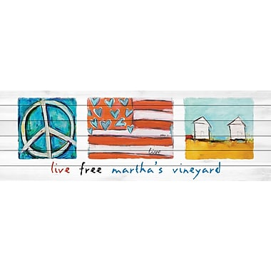 Marmont Hill 'Live Free Martha?S Vineyard' by Tori Campisi Painting Print on White Wood