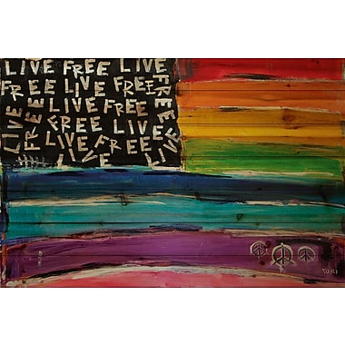 Marmont Hill 'Live Free Rainbow Flag' by Tori Campisi Painting Print on Natural Pine Wood