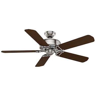 Casablanca Fan 54'' Panama 5-Blade Fan w/ Remote; Brushed Nickel with Burnt Walnut Blades