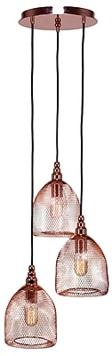 Toltec Lighting Plexus 3-Light Mini Pendant; Copper