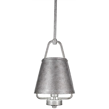 Toltec Lighting 1-Light Mini Pendant; Aged Silver