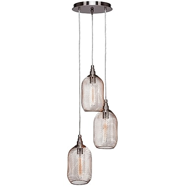Toltec Lighting Plexus 3-Light Mini Pendant; Brushed Nickel