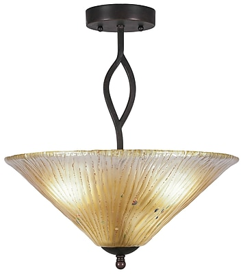 Toltec Lighting Revo 3-Light Semi-Flush Mount; Amber