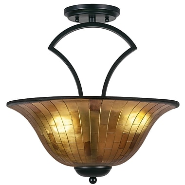 Toltec Lighting Zilo 3-Light Semi-Flush Mount; Matte Black