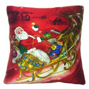 Filos Design Holiday Elegance Crystal Santa Sleigh Throw Pillow