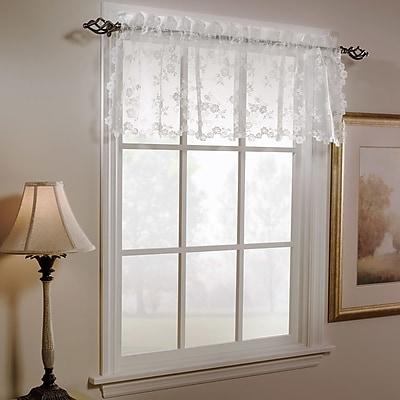 Saturday Knight Petite Fleur Curtain Valance; White