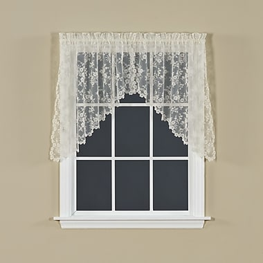 Saturday Knight Petite Fleur Swag Curtain Valance; Ivory