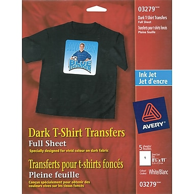 Avery® Dark T-Shirt Transfers, Inkjet, 8-1/2