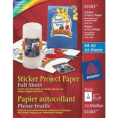 Avery® Sticker Project Paper, White, Inkjet, 8-1/2