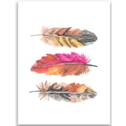 Jetty Home 10'' H x 8'' W Watercolor Tri Feather Pink Painting Print