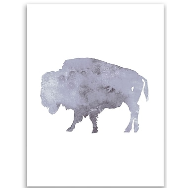 Jetty Home Gray Watercolor Bison Painting Print