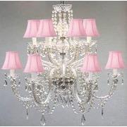 Harrison Lane 12-Light Crystal Chandelier; Pink