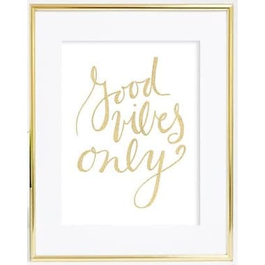 Jetty Home 10'' H x 8'' W Gold Good Vibes Textual Art Print