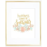 Jetty Home 10'' H x 8'' W Gold Happiness Comes in Saltwater Textual Art Print