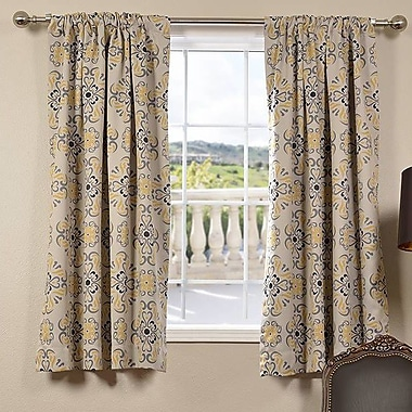 Half Price Drapes Soliel Damask Blackout Thermal Rod Pocket Single Curtain Panel