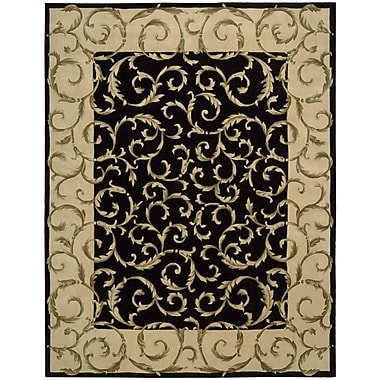 Nourison Versaille Palace Hand-Tufted Black Area Rug; 8' x 11'