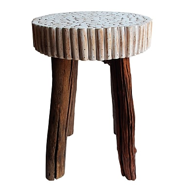 Asian Art Imports Reclaimed Wood Modern Bubble Stool; White