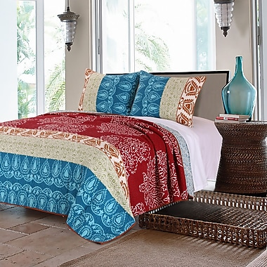 Greenland Home Fashions Kianna Cotton Reversible Quilt Set; Twin