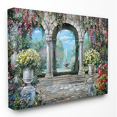 Stupell Industries Fountain w/ Flowers Print on Canvas; 16'' H x 20'' W x 1.5'' D