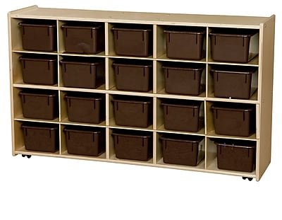 Contender™ 27.25''H x 46.75''W x 12''D 20 Tray Cubby Storage on Casters with Brown Trays (C14502F-C5)