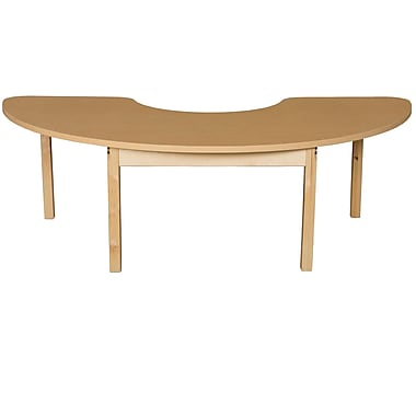 Wood Designs HPL Tables 22''D x 64''W Half Circle Table 16''H Hardwood Legs (HPL2264HCRC16)