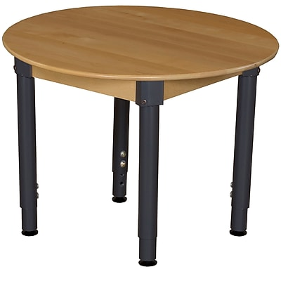 Wood Designs 36'' Round Birch Hardwood Tables 18''-29''H Adjustable Legs (836A1829)