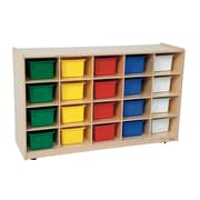 Wood Designs 30''H x 48''W x 15''D Mobile Tip-Me Not 20 Tray Storage with Assorted Trays (14583)