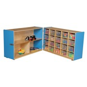 Wood Designs 30''H x 96''W x 15''D Mobile Half & Half Folding Storage with 20 Translucent Trays (14631B)