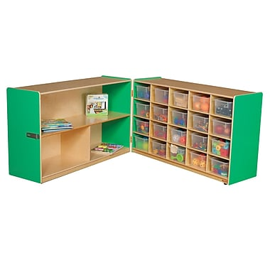 Wood Designs 30''H x 96''W x 15''D Mobile Half & Half Folding Storage with 20 Translucent Trays (14631G)